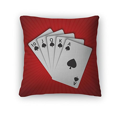 Gear New Throw Pillow Accent Decor, A Royal Flush Of Spades On Red Winning Hands Of Poker Cards Casino Playing, 20'' Cover & Insert, 6423457GN by Gear New