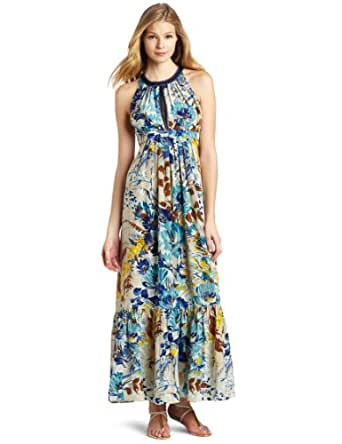 Tracy Reese Women's Halter Maxi Dress, Ecru Floral, 2