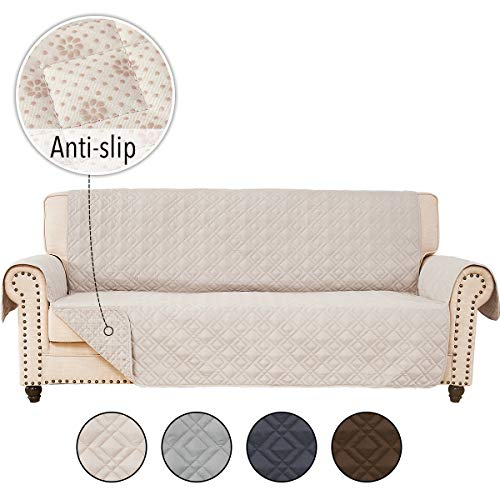 RHF Anti-Slip Sofa Cover for Leather Sofa, Couch Cover, Couch Covers for 3 Cushion Couch, Slip-Resistant Couch Cover for Leather Sofa, Sofa Covers for Living Room, Couch Covers(Sofa:Beige) (Leather L Shaped Sale Sofa)
