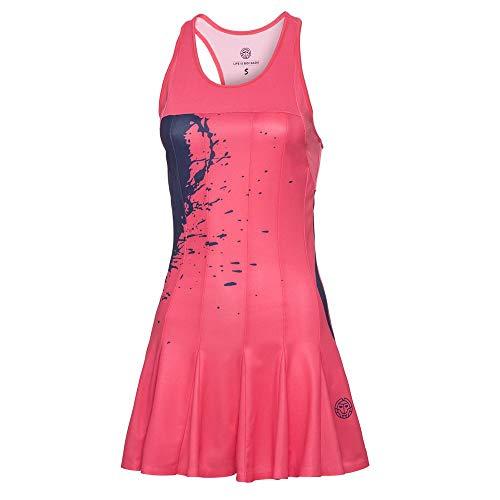 BIDI BADU Tennis Kleid Damen inkl. Sport Bra und Shorts - Coral - Figurbetonter Schnitt - Sport Kleid - Afia Tech Dress (3 in 1) - Coral/darkblue (SP18)