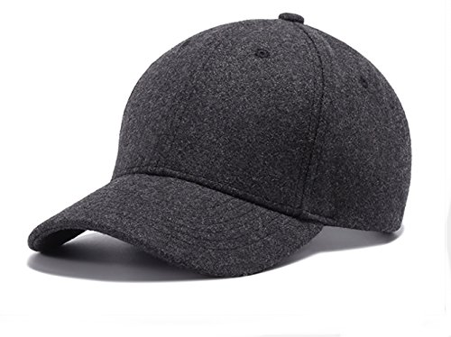 Grey Wool Hat - Scott Edward Wool Blend Baseball Cap Hat Adjustable Size Solid Color for Winter Warm (deep Grey)