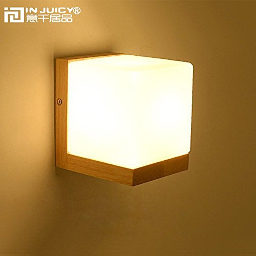 Injuicy Lighting Loft Vintage Industrial E27 Wooden Base Led Wall Lights Lamp Fixtures Retro Glass Shades Cube Edison Wall Sconces for Living Room Bedrooms Indoor Bedside Decoration (Wood Wall Sconces)