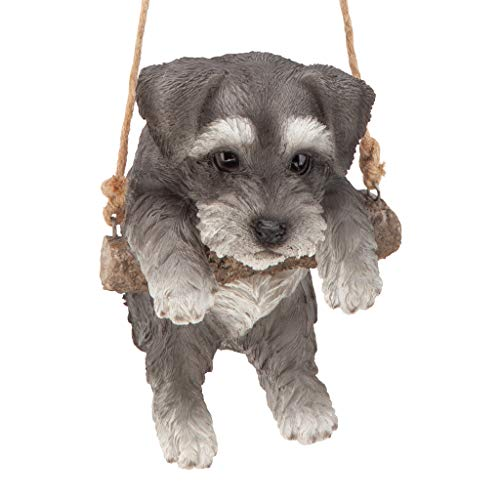 - Design Toscano Mini Schnauzer Puppy on a Perch Dog Hanging Sculpture, 8 Inches, Full Color