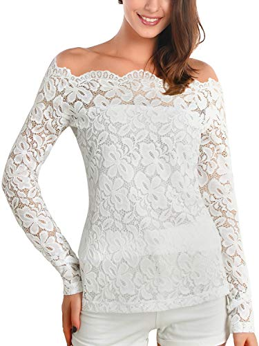 (DJT Womens Boat Neck Floral Lace Raglan Long Sleeve Shirt Top Large White )