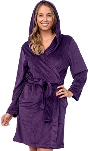 Pink Lady Women's Soft Velour Hooded Wrap Bath Robe (Crown Jewel, L/XL)