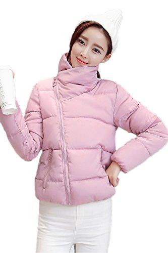 Casual lado abierto corto cuello alto lana abrigo abrigos de la mujer Pink