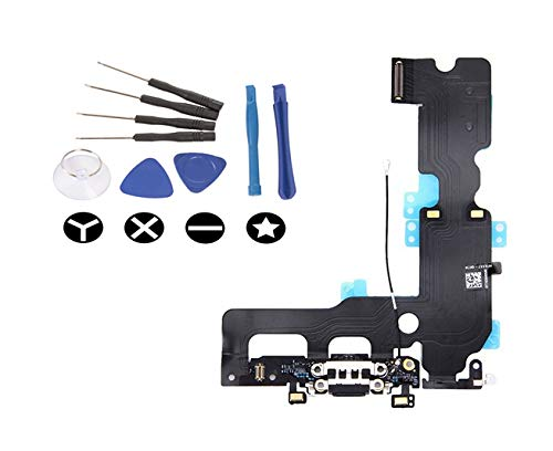 (md0410) Black Lighting USB Charging Port Charge Dock Connector Charger mic Flex Ribbon Cable Replacement Part Compatible for iPhone 7 Plus + Tools Kit by md0410