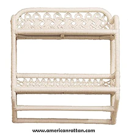 Beau White Wicker Bathroom Wall Shelf With Towel Bar