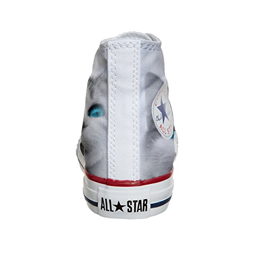 Converse Customized Chaussures Coutume (produit artisanal) White cat with blue eyes