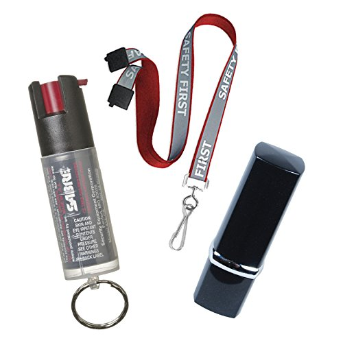 Security Equipment College Safety Bundle: Sabre Key Ring Pepper Spray, a Lipstick Personal Alarm and a 36 Inch Reflective Breakaway Lanyard - Lot of 3 as Shown (SAFETY FIRST Red Lanyard) by Security Equipment