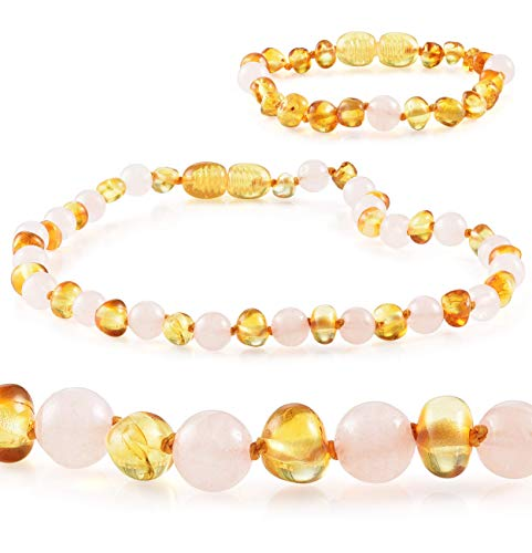 Premium Grade Amber Teething Necklace WITH Bracelet Set - Baltic Amber Teething Necklace in 3 Sizes - Relief for Baby, Toddler & Child - Teether with Real Honey Amber Beads and Rose Quartz (12-13