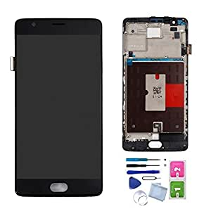 LCD Screen + Touch Screen Digitizer Assembly with Middle Frame for OnePlus 3T A3010 Replacement Parts + Install Tools (Black)