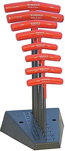 (Bondhus 13189 Set of 8 Balldriver and Hex T-handles with Stand, sizes 2-10mm)
