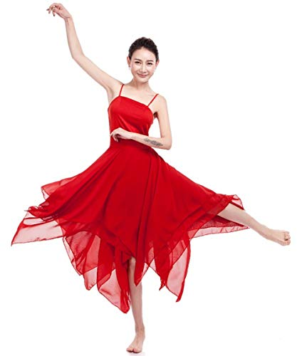 FEESHOW Womens Adult Camisole Dress Ruffle Sweetheart Asymmetrical High-Low Dance Dress Red Medium