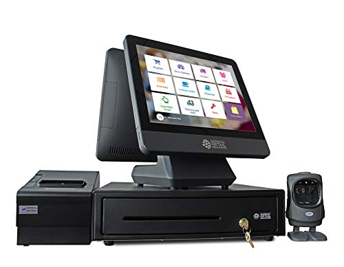 NRS POS + Bundle - Includes Touchscreen Point of Sale System, Customer Screen, Cash Drawer, Scanner, Receipt Printer, Customer Display