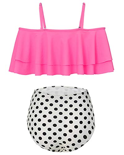 Holipick Women Two Piece Ruffled Flounce Off Shoulder Tankini Top With Polka Dot Bottoms Swimsuits Set Pink L by Holipick (Image #4)