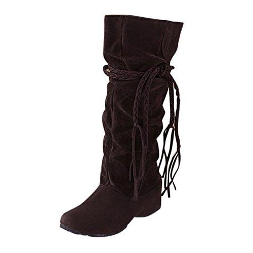Kolylong® Stiefel Damen Hot Sale! Frauen Elegant Quaste Stiefel Lange Herbst Winter Warme Stiefel Slim Schnee Stiefel für Mädchen Winterstiefel Schuhe Innerhalb der Erhöhte Braun
