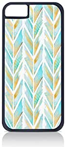 Blue and Gold Feathered Chevron Pattern- For SamSung Galaxy S4 Mini Phone Case Cover Universal-Hard Black Plastic Outer Shell with Inner Soft Black Hard Lining-(NOT 5C)