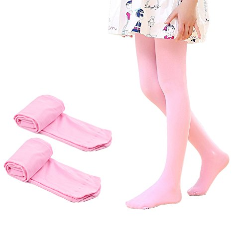 (Ehdching 2 Pack Pink Kids Girls Baby Soft Footed Microfiber Ballet Dance Tights Velvet Stockings Pantyhose (Pink, L(7-9years)))