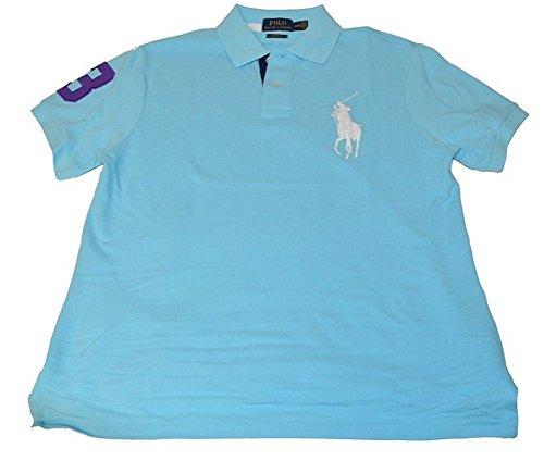 Big Pony Rugby Shirt (Polo Ralph Lauren Mens Custom Fit Big Pony Mesh Polo Shirt (L, Hamm Blue))