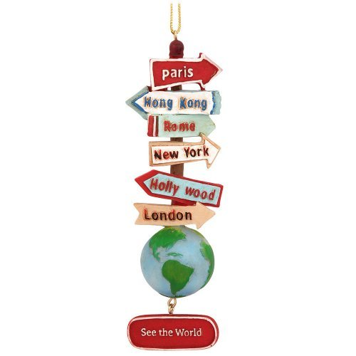 Kurt Adler Resin Stacked World Signs With Globe Ornament