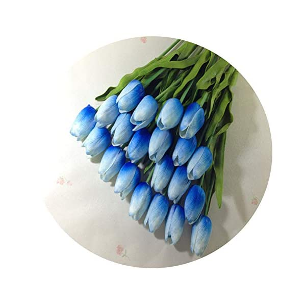 Dance to this 31Pcs/Lot Pu Mini Tulip Flower Real Touch Wedding Flower Bouquet Artificial Silk Flowers for Home Party Decoration,Blue
