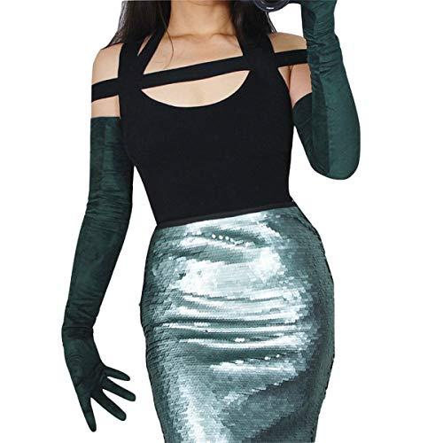 (DooWay Women's Ladies 27-inch Dark Green Faux Suede Elegant Extra Long Gloves Opera Evening Finger Gloves Mittens Unlined)