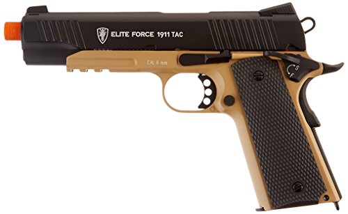 Elite Force 1911 Blowback CO2 Powered 6mm BB Pistol Airsoft Gun, FDE/Black, 1911 TAC