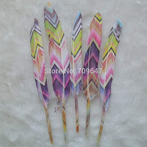 Maslin 50Pcs/lot!The Multicolor Painting Unique Goose Feathers Duck Feathers Wedding Feathers Hat Embellishment 9-15cm Long