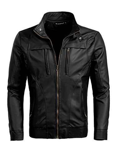 uxcell Men Stand Collar Zipper Closure Imitation Leather Motorcycle Jacket Black L (US 42)