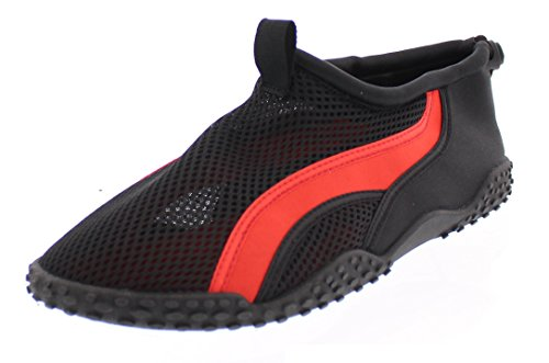 Gold Toe Men's Lou Sporty Athletic Mesh Toggle Water Shoes, Waterproof Lightweight Outdoor Slip ONS Black w/Red Piping 10D US