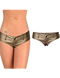 Women PU Micro Shorts Low-Waist Strech Mini Denim Shorts Underwear
