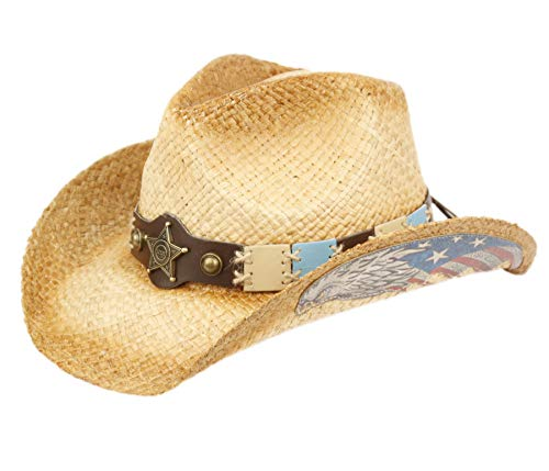 ANGELA & WILLIAM USA American Flag Straw Cowboy Hat w/Shapeable Brim, Red, White, Navy Blue (COW4036)