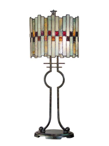 Dale Tiffany TT101014 Haskey Table Lamp, Antique Bronze and Art Glass Shade - Fine Art Lamps Bronze Table Lamp