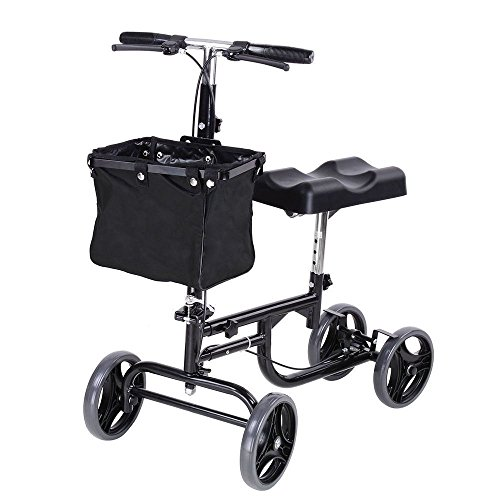 Alitop Steerable Foldable Knee Walker Scooter Turning Brake Basket Medical Drive Black