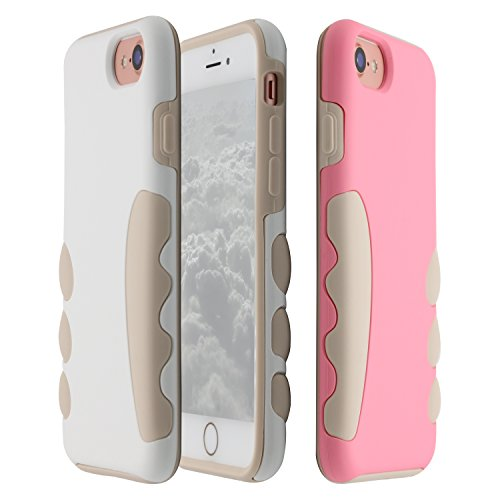 iPhone 8 Case, CHINFAI Shockproof Silicone Case for iPhone 8/7/6s/6 Protetive Shell 3 Pieces Packed - Flesh Color Silicone + Rice White & Pink Plastic