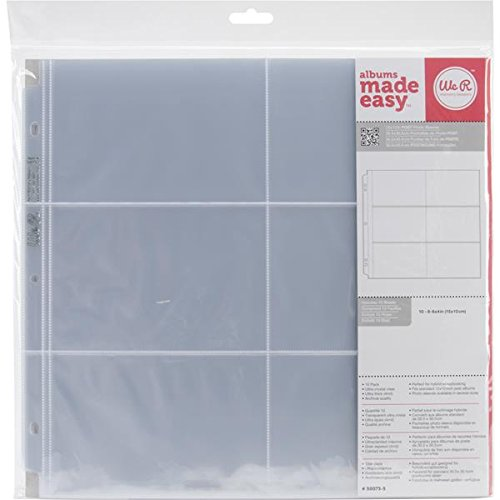 We R Memory Keepers 50073-5, 12 x 12 inch (6 - 4 x 6 Inch pockets) Postbound Album Photo Sleeve Protectors, Ultra Crystal Clear, 10 -