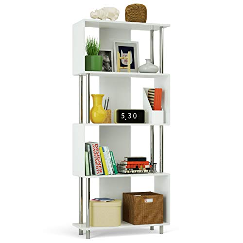 (Giantex 4 Shelf Bookcase Modern Display Shelf Organizer Snaking Bookshelf Industrial Style Storage Display Unit Bookshelf 72.5 Inch Height (White))