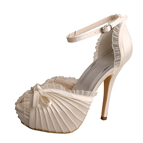 Wedopus MW810 Women Peep Toe Platform High Heel Sandals Ankle Strap Pleated Satin Evening Wedding Shoes Ivory 9oykx