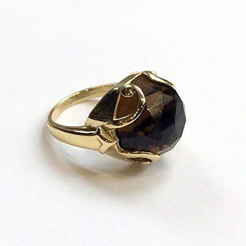 - Gold-tone brass smoky quartz gemstone statement cocktail ring - Queen of Hearts R2316-2