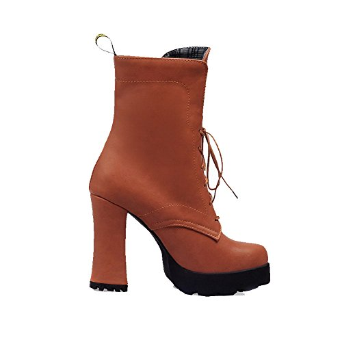 Allhqfashion de punta tacón bajo botas cordones tacones marrón altos botas con redonda altas Mujeres qZ1HWZTa
