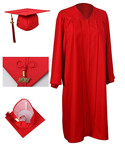 GraduationForYou Matte Graduation Gown Cap Tassel (Red Graduation)