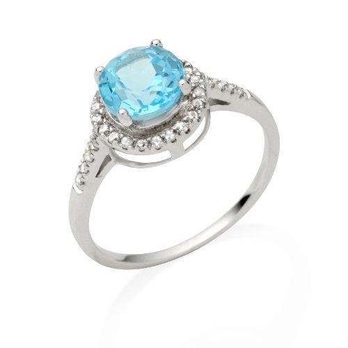 Miore - Bague femme - Or blanc 375/1000 (9 carats) 1.91 gr - topaze bleue et diamant 0.17 cts