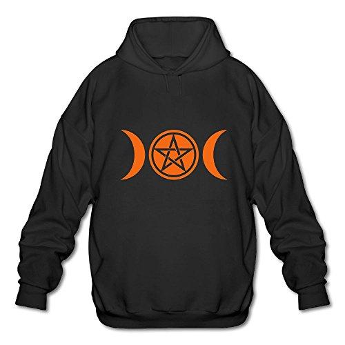 Goddess Cotton Blend (Olinerui Poly Cotton Blend Hoodie Man Black Sweatshirt Wicca Triple Moon - Goddess Symbol - Pentagram)