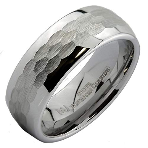 MJ Metals Jewelry White Tungsten Carbide Hammered Center 8mm Wedding Band Ring Size 15