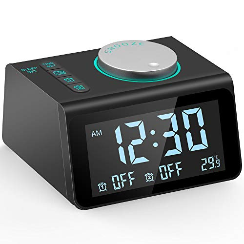 Different Sounds - Ksera Alarm Clock with FM Radio, Multi-Function Digital Radio Alarm Clock, Dual Alarm with 7 Alarm Sounds, Temperature Display, 5 Level Adjustable Brightness, Dual USB Charging Port, Sleep Timer