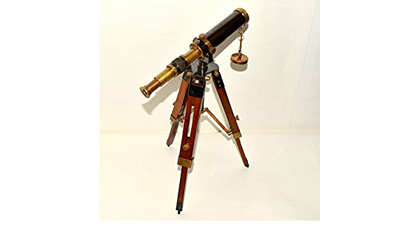 Nautical Ship Maritime Brass Telescope Antique Handmade Article Single Barrel Wooden White Adjustable Tripod Home /& Office Decorative