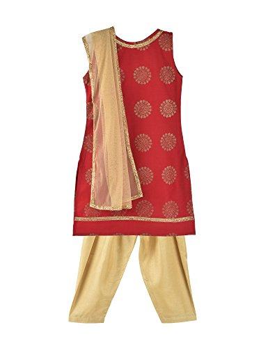 K&U Girl's Beige & Maroon Salwar Kurta Dupatta - Designer Salwar Kurta