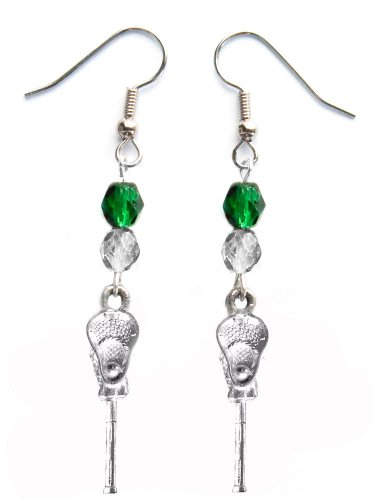 ''Lacrosse Stick & Ball'' Lacrosse Earrings (Team Colors Forest Green & Silver) by Edge Sports