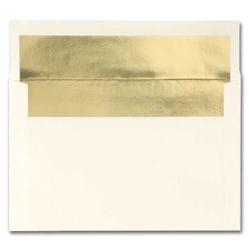 Fine Impressions Ecru Envelopes with Gold Liner - A9 (5 3/4 x 8 3/4) 70 lb Text Vellum - 250 per Box